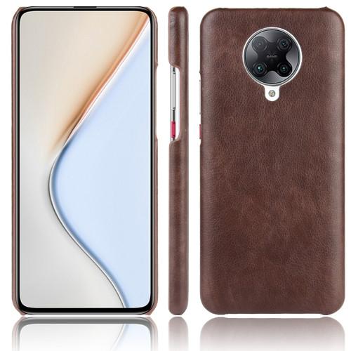 Shockproof Litchi Texture PC + PU Case for Xiaomi Poco F2 Pro (Brown)