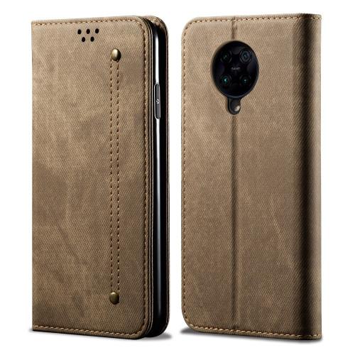 Denim Texture Casual Style Horizontal Flip Leather Case with Holder & Card Slots & Wallet for Xiaomi Redmi K30 Pro / POCO F2 (Khaki)