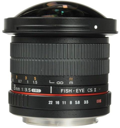 Samyang 8mm f/3.5 Fish-eye CS II w/hood (Canon)