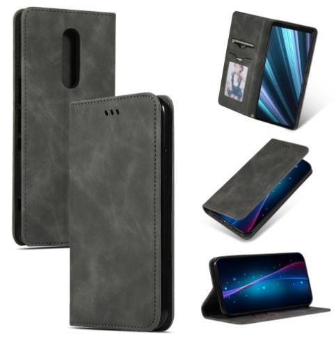 Retro Skin Feel Business Magnetic Horizontal Flip Leather Case for Sony Xperia 1 (Dark Gray)