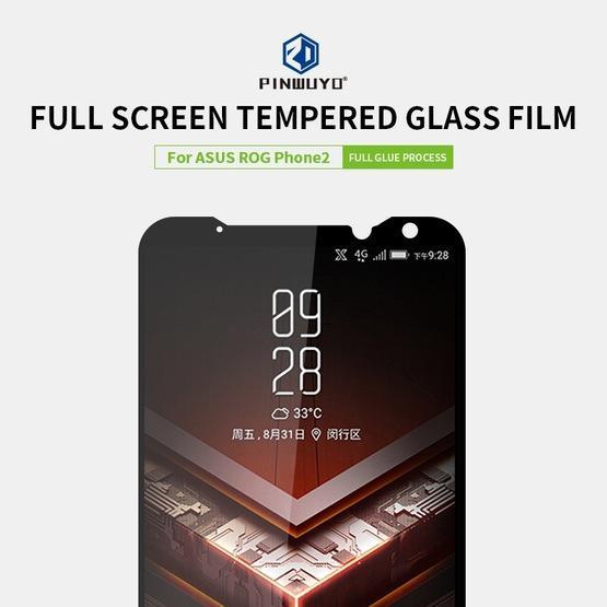 PINWUYO 9H 2.5D Full Screen Tempered Glass Film for Asus Rog Phone2(Black)