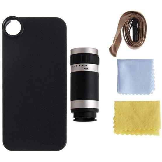 8X Zoom Lens Mobile Phone Telescope + Plastic Case for iPhone 5 & 5S(Black)