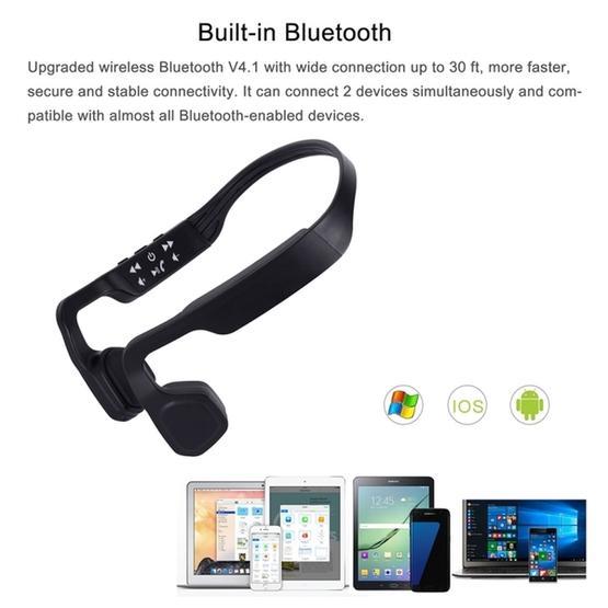 S-18 Bone Conduction Bluetooth 4.1 Sports Outdoor Headphone(White)