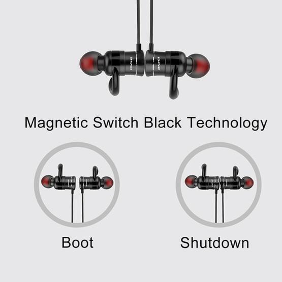 AWEI AK5 Sports Waterproof Wireless Bluetooth In-ear Headphone with Mic (Black)