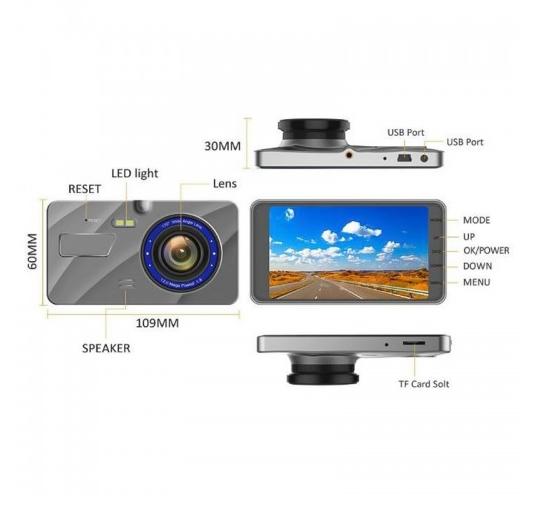 Car DVR - X96 4 inch 2.5D Full HD 1080P Multi-functional Dual Lens
