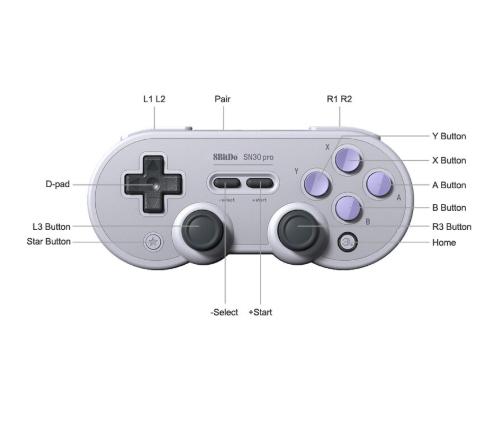 8Bitdo SN30ProG Retro Wireless Bluetooth Controller Gamepad (Light Grey)