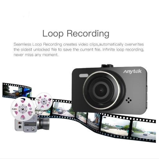 Car DVR - Anytek A78 1296P Dual Lens 3 Inch Full HD