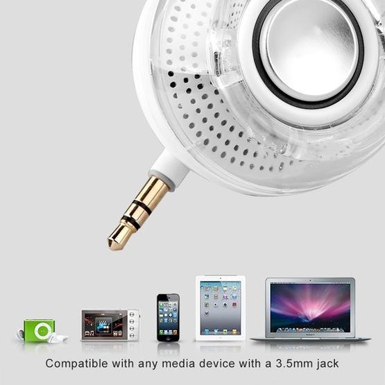 Leadsound F10 Portable 3D HIFI Surround 3.5mm Audio Jack Mini Round Shape Crystal Speaker(Black)